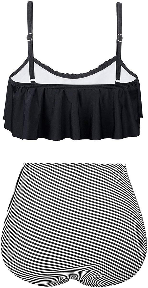 Avondii Damen Retro Badeanzug High Waist Volant Bikini Set