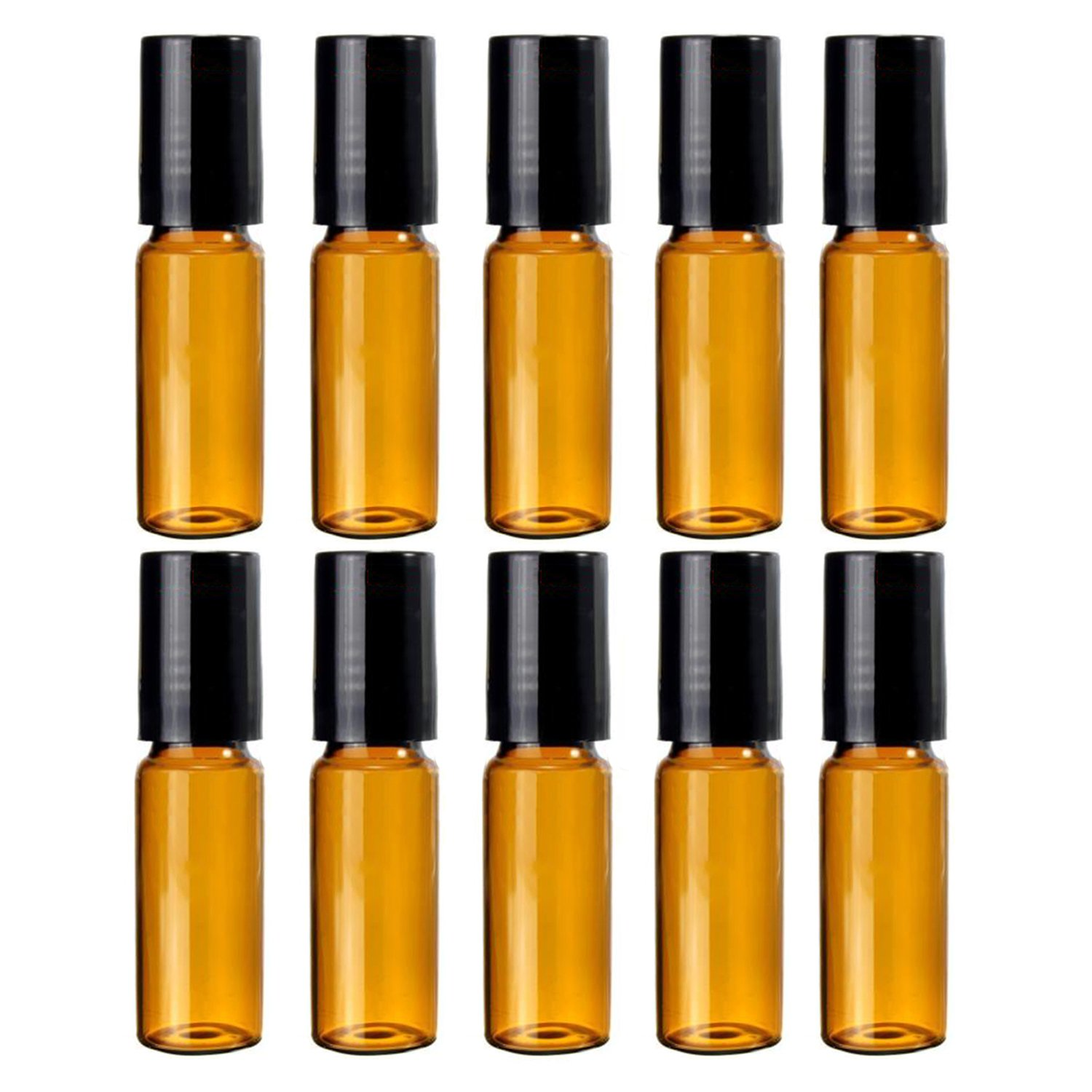 Gemini_mall® 10pcs Empty Refillable Plastic Roller Bottles(10ml) With Stainless Steel Roller Ball for Essential Oil, Perfume, Serum, Cosmetics, Lotion, Treatment, Home and Travel Outdoor Suitable