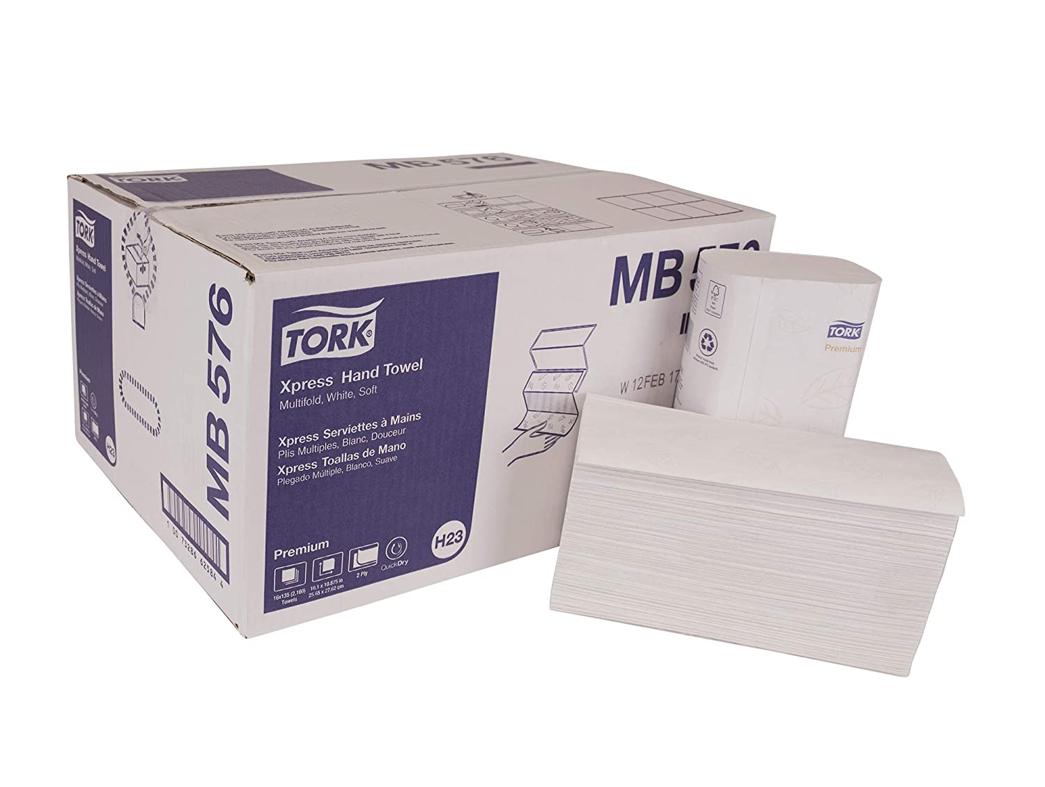 Tork Premium MB576 Soft Multifold Paper Hand Towel, 3-Panel, 2-Ply, 10.1