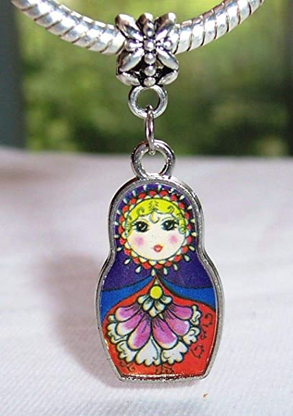Russian Doll Russia Trip Purple Red Dangle Charm for Silver European Bracelets