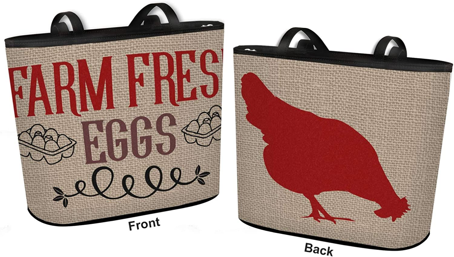 Regular w//Front /& Back Design Personalized Farm Quotes Bucket Tote w//Genuine Leather Trim