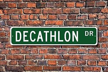 Lotusworld Decathlon Señal de Decathlon Diez Track Field Events Track Star Regalo Pared Metal Street Sign 4 x 16 Pulgadas: Amazon.es: Hogar