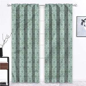 Blackout Curtains for Bedroom Green for Kitchen Cafe Decor Retro Colors Seventies Style 108 x 72 Inch (2 Panels)