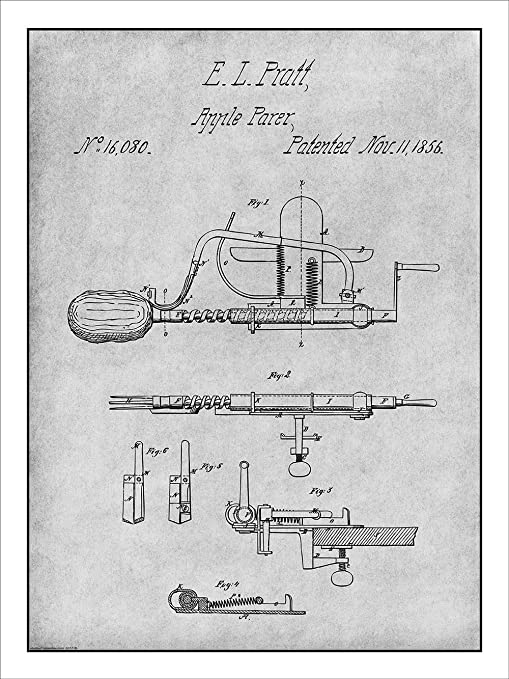 1856 Pratt Apple Parer Peeler Patent Print Art Drawing Poster 18X24