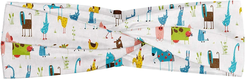 ABAKUHAUS - Pañuelo para el cuello, diseño de animales de la granja con cerdito y vaca, diseño de caballo y oveja, elástico y cómodo, varios colores
