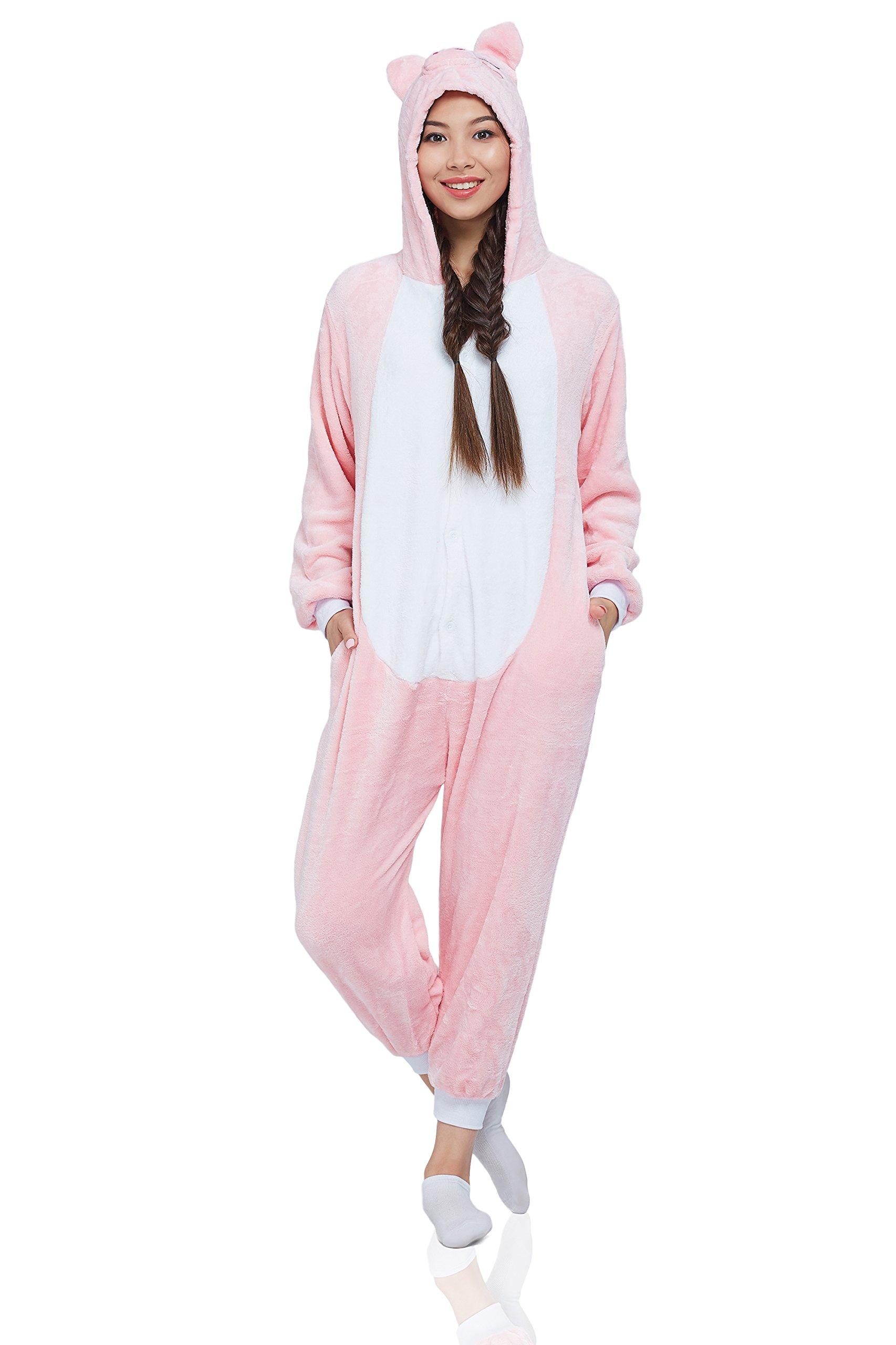 Nothing But Love Adult Piglet Kigurumi Animal Onesie Pajamas Plush Onsie One Piece Cosplay Costume (Small, Pink, White)