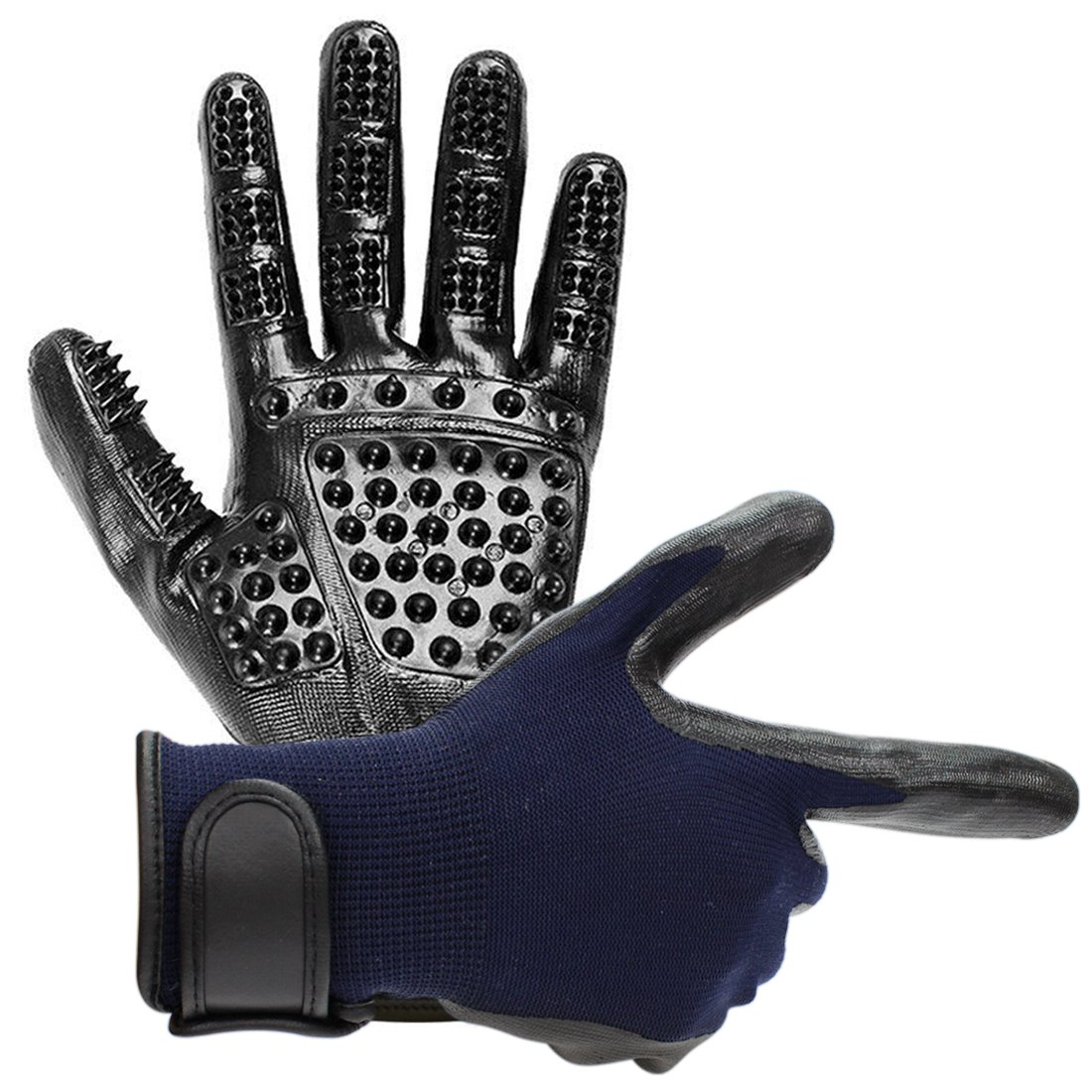 Vission Pet Grooming Glove Hair Removal Mitt - Gentle Deshedding Brush Glove - Perfect for Dogs, Cats & Horses with Long or Short Fur - Enhanced Five Finger Design (Blue)