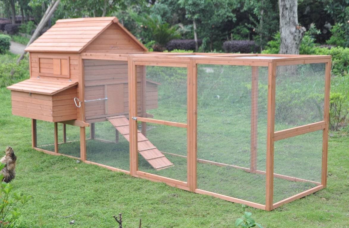 Ardinbir 12 ft Extra Large Solid Wood Chichken Coop Hen House with Outdoor Run & 6 Nesting Boxes for 10-15 Chickens!