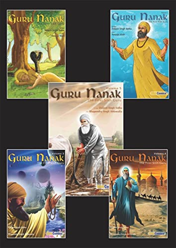 Guru Nanak - The First Sikh Guru; Set of Five Books Vol1; 2; 3; 4; 5; (Sikh Comics)