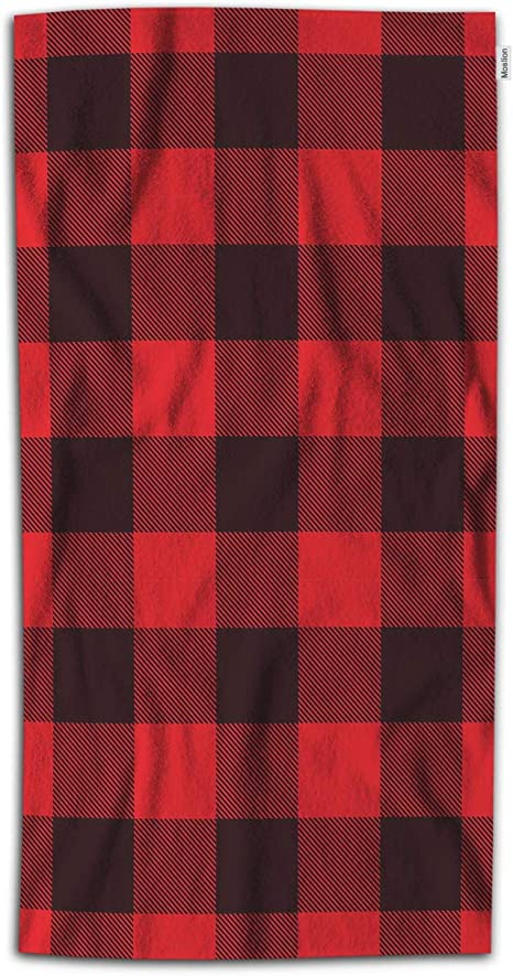 Moslion Plaid Bath Towel Classic Lumberjack Checkered Gingham Lattice Square In Red Black Towel Soft Microfiber Baby Hand Beach Towel For Kids Bathroom 32x64 Inch Home Kitchen