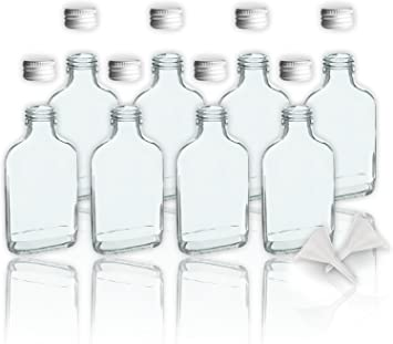 8 botellas de cristal 100 ml con tapa a rosca + 2 mini embudo/10 cl botellas vacías de vidrio para llenar/tapón de sample botellas para los aceites, ...