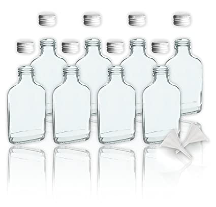 8 botellas de cristal 100 ml con tapa a rosca + 2 mini embudo/10