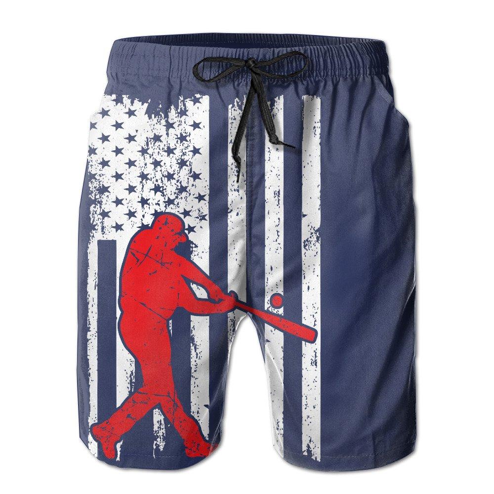 ZQ-SOUTH Mens American Flag Baseball Player Quick Dry Summer Beach Surfing Board Shorts Swim Trunks Cargo Shorts