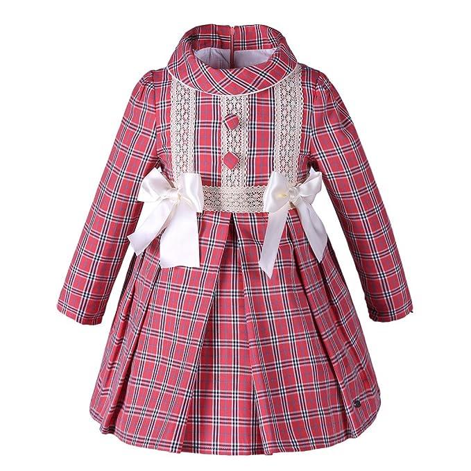 Lajinirr - Vestido - Cuadrados - Manga Larga - para niña Rojo rosso XXL