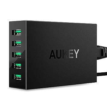 2583cc0c80d AUKEY Cargador USB 5 Puertos 50W/10A con Tecnología AiPower Una Corriente  Máxima de 2,4A para iPhone, iPad Air/Pro, HTC, LG y más