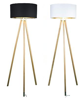FITZ & ROY AKTION Premium Dreibein Holz Stehlampe hergestellt in  Österreich, edles Kirschholz – geölt, E27, dimmbar - Farbe schwarz