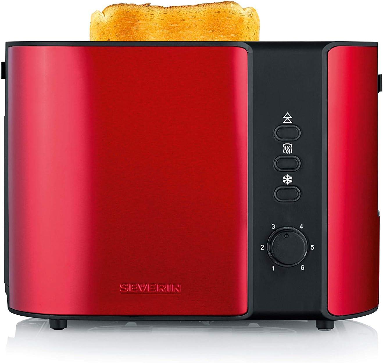 Severin AT 2217 Tostadora para 2 rebanadas de Pan, Incluye Soporte para tostar panecillos, 800 W Aprox, Rojo Metalizado/Negro, Acier INOX