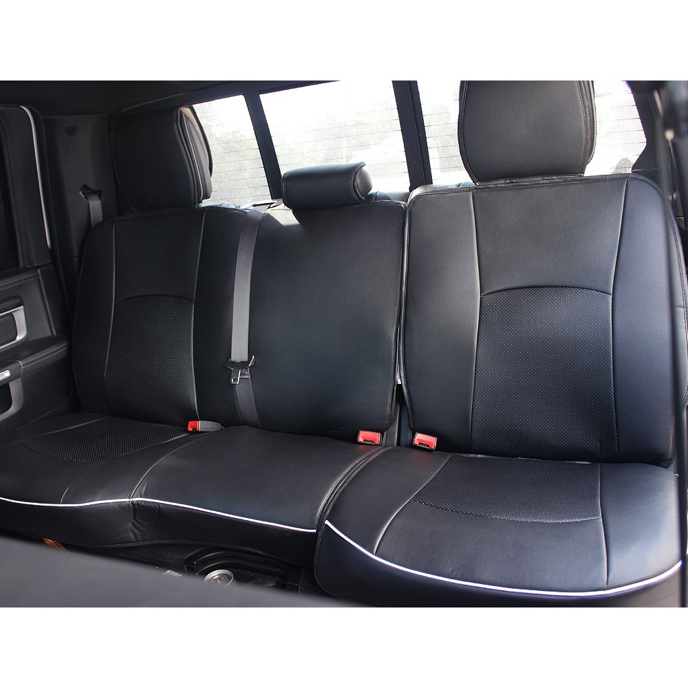 Fly5D PU Leather Car Seat Covers Front Rear Seat Cushion Cover Full Sets Apply for 2009-2017 Dodge RAM 1500 2500 3500 (Black) by Fly5D (Image #5)