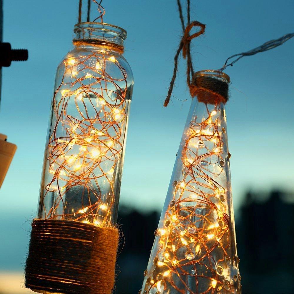 [Fernbedienung und Timer] KooPower 100er LED Outdoor Lichterkette mit 6M Flexible Silberdraht, Batterienbetrieben (8 Modi, IP65 Wasserdicht, Außenbeleuchtung), Warmweiß Außenbeleuchtung) Warmweiß 3xAA-**L