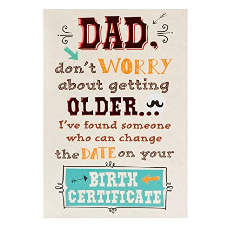 Hallmark Birth Certificate Medium Birthday Card For Dad Amazonco