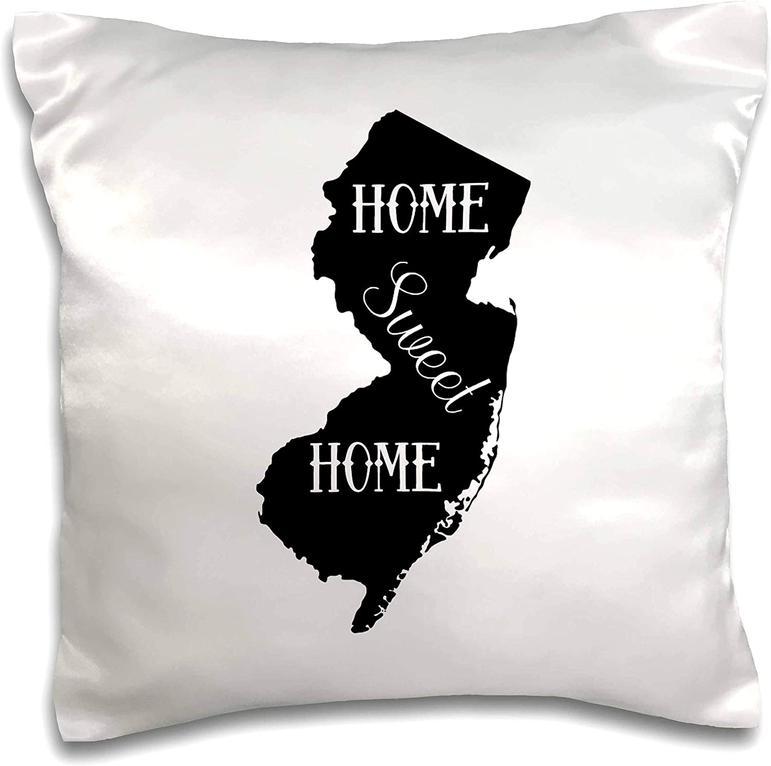 3dRose Stamp City - typography - Home Sweet Home inside the state of New Jersey. White background. - 16x16 inch Pillow Case (pc_324155_1)