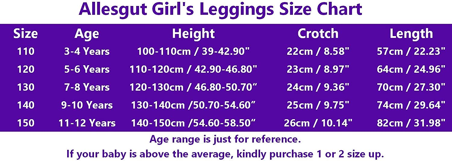 Allesgut Girls Assorted Leggings Footless Tights Cotton Pants for Kids 3-10 Years