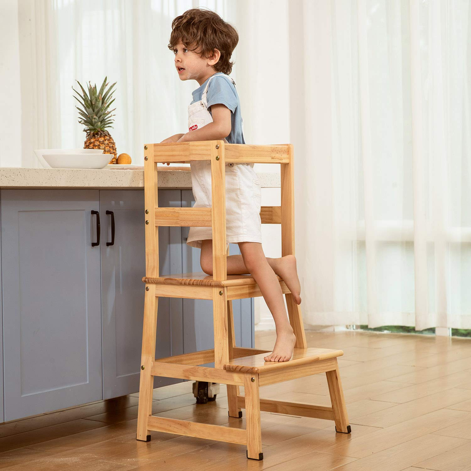 Amazon Com Kitchen Helper Step Stool For Kids And Toddlers With Safety Rail Children Standing Tower For Kitchen Counter Mothers Helper Kids Learning Stool Solid Wood Construction Natural Baby