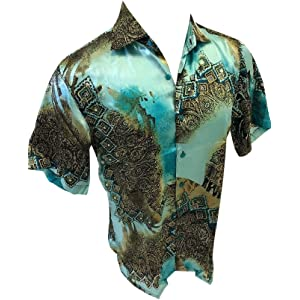 Mens Veronelli Silky Short Sleeve Button Up Shirt Teal Geometric Color
