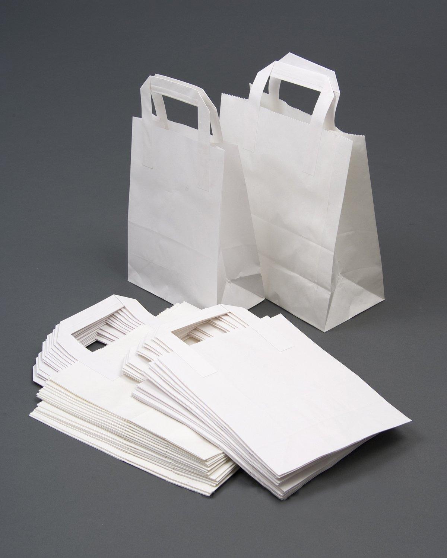 25 White Takeaway Kraft Paper Carrier Bags 7