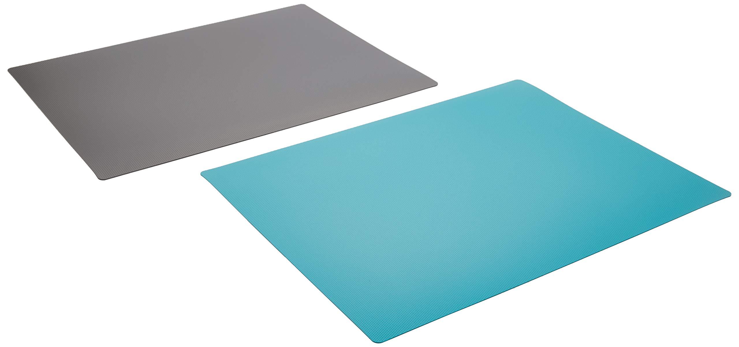 """IKEA Finfordela FINFÖRDELA Set of 2 IKEA Flexible Chopping Cutting Boards Grey Finfordela 303.358.98, 11"""" x 14 1/4"""" x 0"""" (1 mm), Teal Blue Gray"""