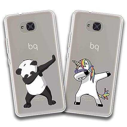 jrester 2 X Funda BQ Aquaris U2,Unicornio Swag + Panda Swag Flexible Suave Transparente TPU Gel Silicona Anti-Arañazos Smartphone Cascara Protectora ...