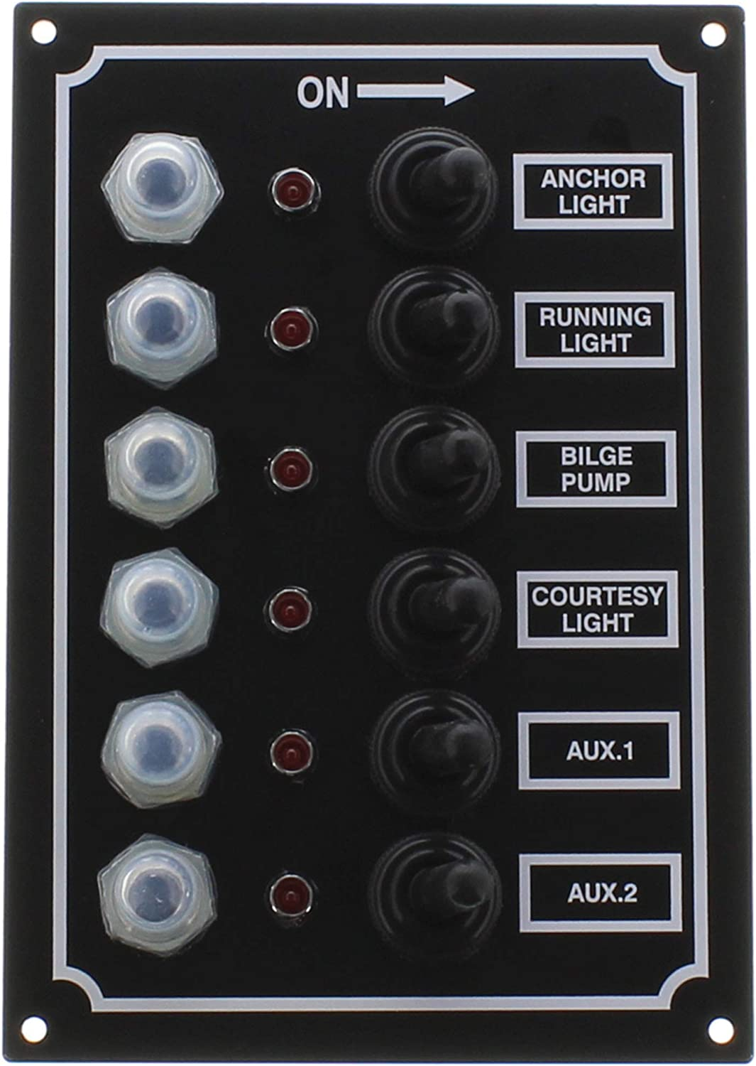 SeaSense LED Switch Panel 6 Gang with Breaker and Rubber Boots : Boating Battery Switches : Sports & Outdoors