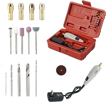 HYDDNice - Mini taladro de mano eléctrico, taladro eléctrico, lijadora giratoria, para pulir joyas, manualidades pequeñas, cortar, perforar, grabar, juego de herramientas: Amazon.es: Bricolaje y herramientas