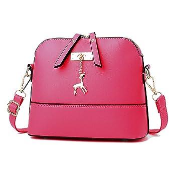 70eda53bef12 PU Leather Shoulder Bag for Women, Vintage Style Cross Body Bag with Metal  Deer Pendant