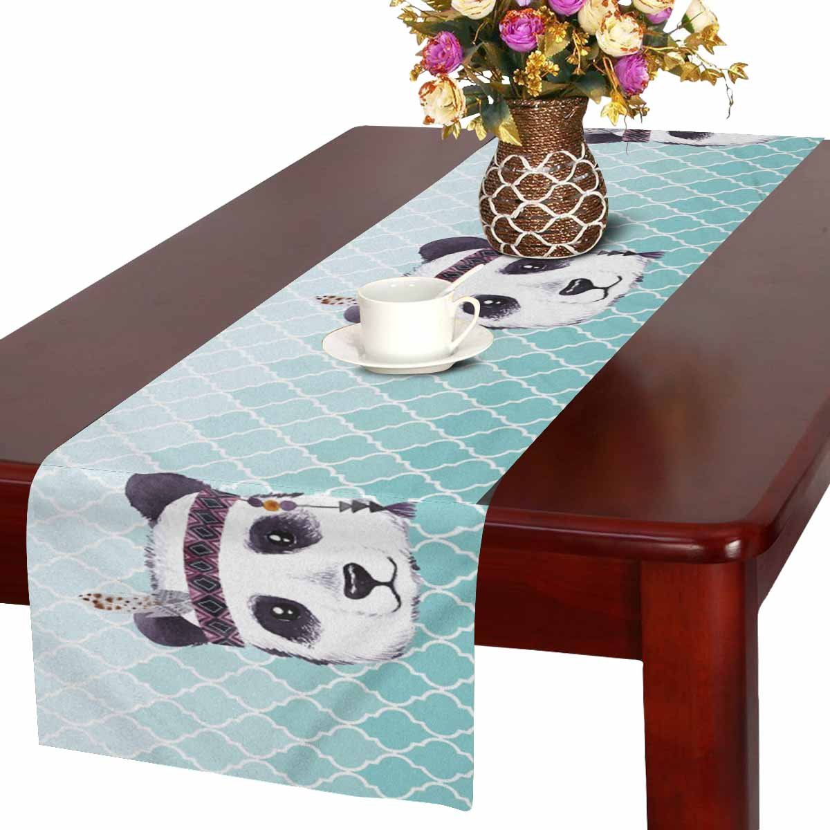 InterestPrint Bohemian Pandas with Feathers Cute Animal with Teal Moroccan Trellis Table Runner Cotton Linen Cloth Placemat for Office Kitchen Dining Wedding Party Banquet 16 x 72 Inches
