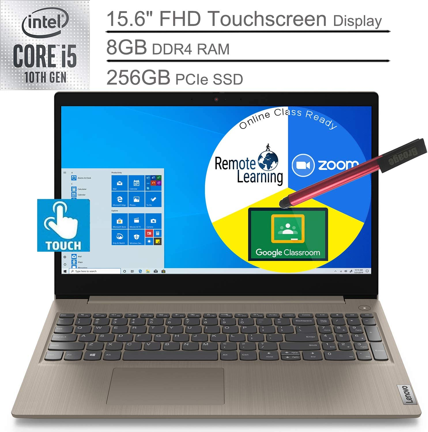 "2020 Lenovo Ideapad 3 15.6"" Touchscreen Laptop Computer_ 10th Gen Intel Core i3 1005G1 (Beats i5-7200u)_ 8GB DDR4 RAM, 256GB PCIe SSD_ Almond_ Windows 10_ BROAGE 64GB Flash Stylus_ Online Class Ready"