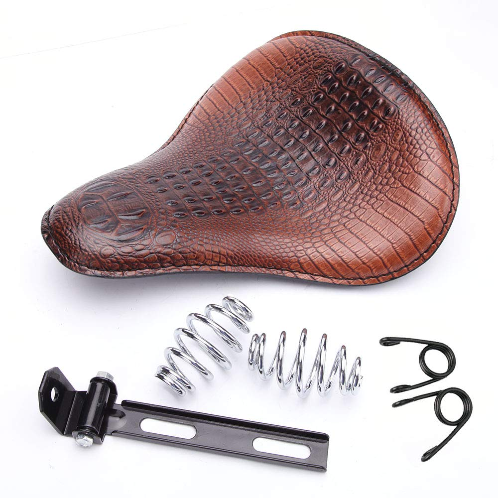 Brown Motorcycle Crocodile Leather Cushion Spring Solo Seat For Honda Rebel 250 300 500 Refit Bobber (Brown- Crocodile) by Rich Choices