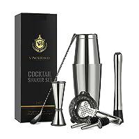 Boston Cocktail Shaker Bar Set by VinoBravo: 18oz & 28oz Shaker Tins, Hawthorne Cocktail Strainer, Double Jigger, 12'' Mixing Spoon, 7'' Drink Muddler and Recipes