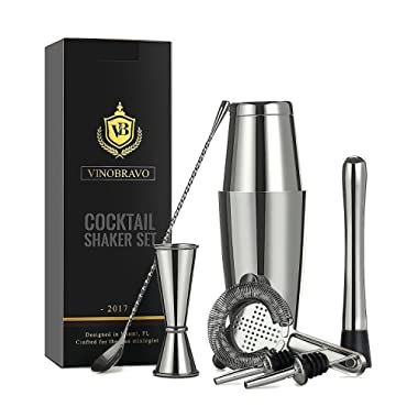 Boston Cocktail Shaker Bar Set By VinoBravo: 18oz & 28oz Weighted Shaker Tins, Hawthorne Cocktail Strainer, Double Jigger, 12'' Mixing Spoon, 7'' Drink Muddler and 30 Classic Recipes (Silver)