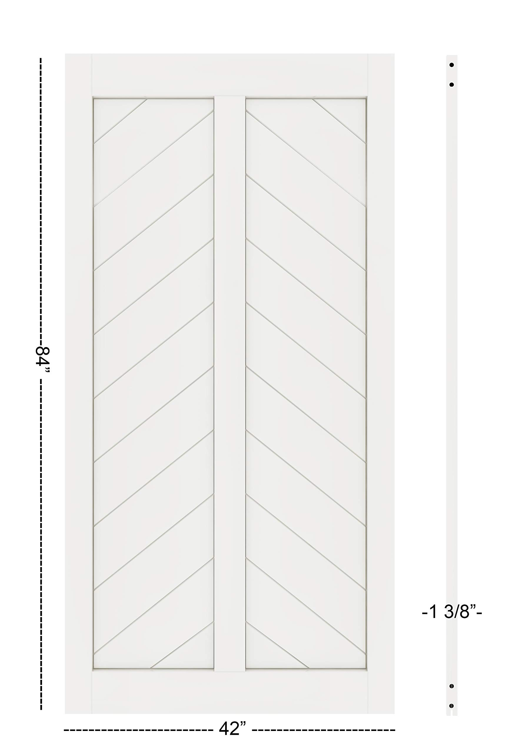 DIYHD 42X84in Fish Bone V Shape Sliding Barn Slab MDF Solid Core Primed Interior Door Panel(Disassembled), White-42X84'' White by DIYHD (Image #3)