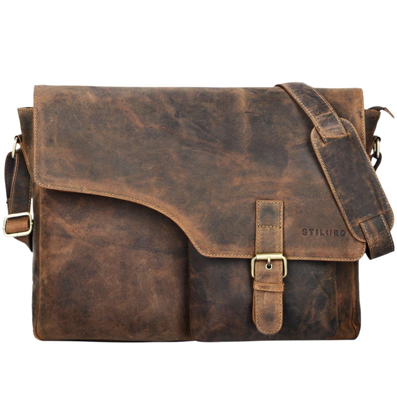 STILORD 'Valerian' Leder Umhängetasche Herren Messenger Bag Business Uni Büro groß DIN A4 Laptoptasche Aktentasche Vintage Rindsleder, Farbe:dunkel - braun