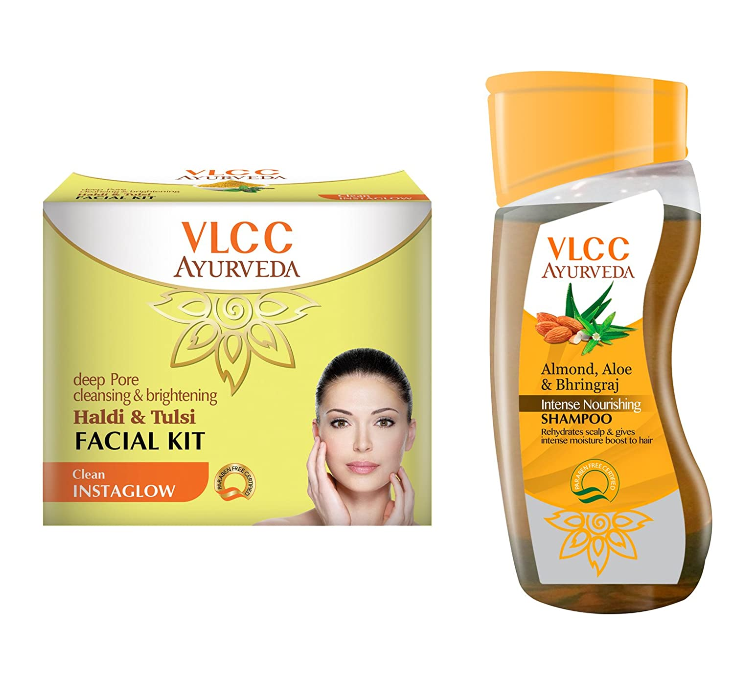 VLCC Haldi Tulsi Facial Kit and Ayurveda Shampoo Combo