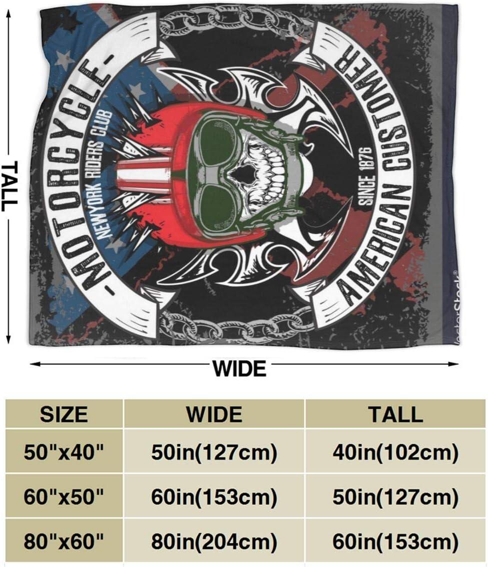 Vintage Biker Skull Emblem Tee Graphic Couverture Plaid Couverture de Lit Douce et Chaude Plaid Jet/é de Canap/é Flanelle 153x127cm