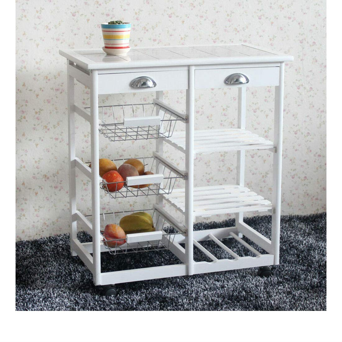 Rolling Wood Kitchen Island Trolley Cart Storage Tile Top Drawers Stand Durable (White)