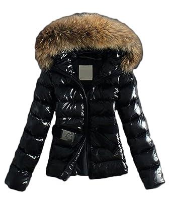online store e4d3e e8784 Hikenn Damen Daunenjacke Steppmantel mit Fake Fur-Kapuze fein glänzende  Oberfläche Wintermantel warm