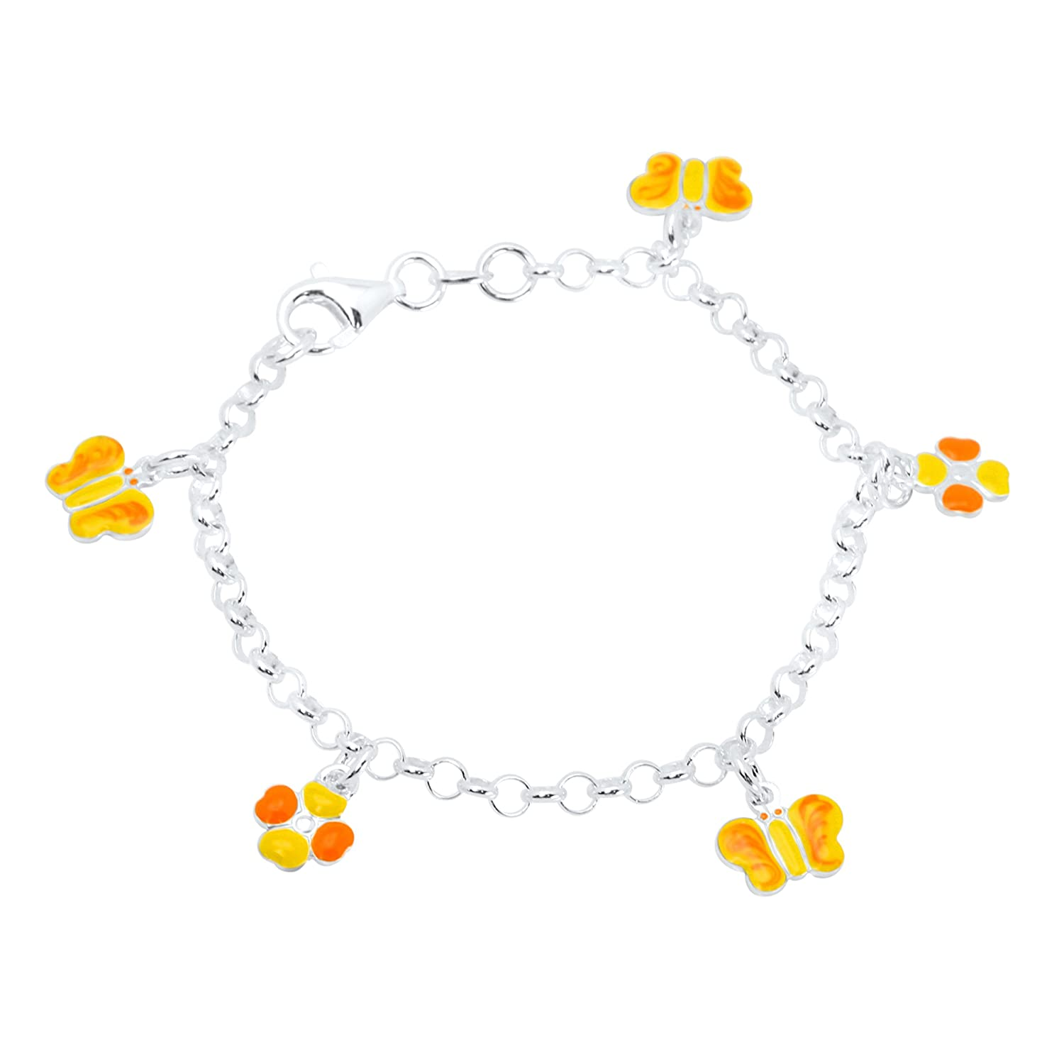 UNICORNJ Sterling Silver 925 Childrens Bracelet with Enamel Charms Italy