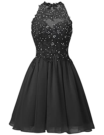 Cdress Short Homecoming Dresses Chiffon Appliques Bodice Junior Prom Dress Cocktail Gowns Black US 2