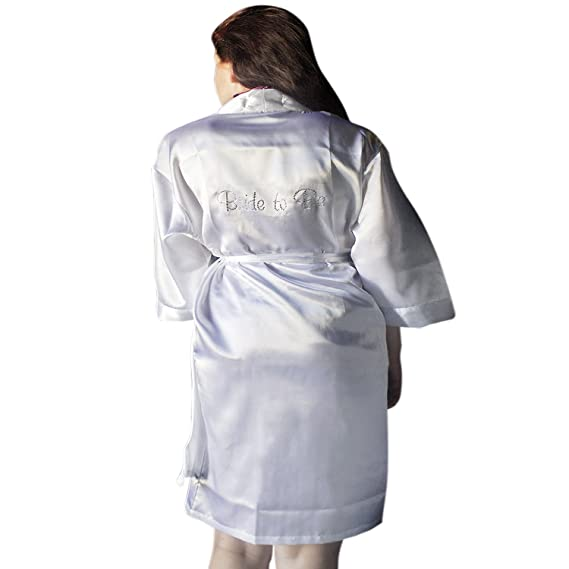Bridal Robes Satin Robes Personalized Satin Bridal Robe (Medium) at Amazon Womens Clothing store: