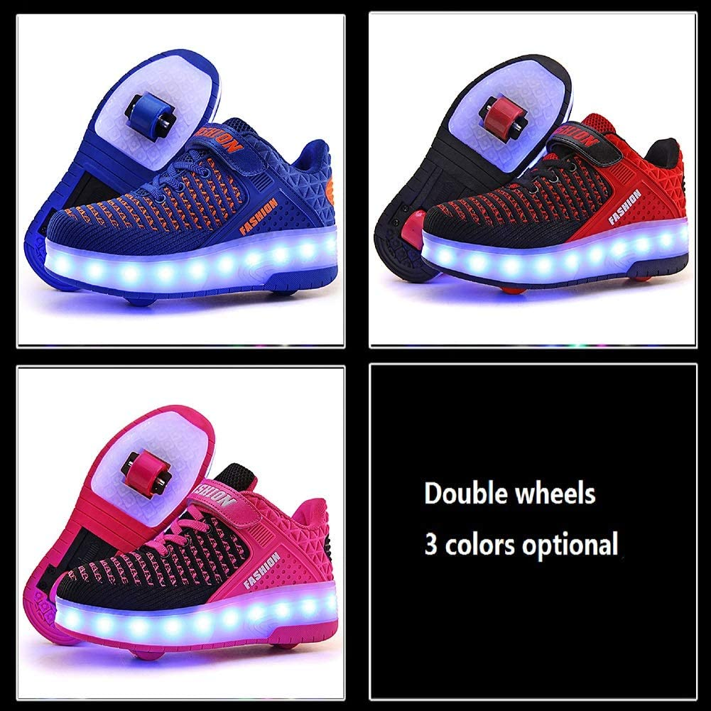 HWZZ Ultra-Lightweight LED Sports Shoes with 7 Light Effects Girls And Children Skateboard Shoes with Two Retractable Wheels Suitable for Boys