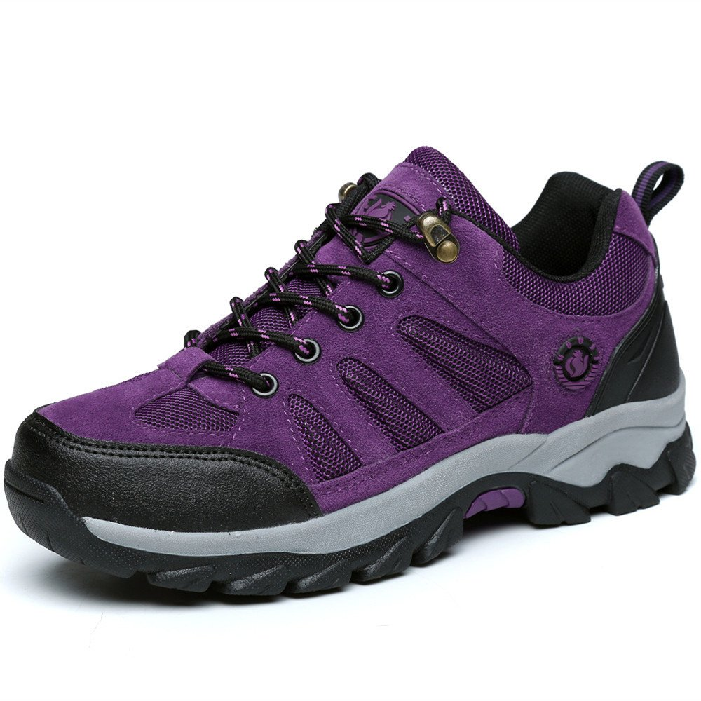 FEOZYZ Hiking Boots Womens Skid-Proof Compact Walking Laces up Backpacking Sneaker for Trekking Outdoor (7 B(M) US, Purple)